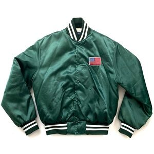 Holloway Varsity Jacket Green Size Large